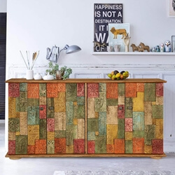 "Georgia Colorful Carved Tiled 59"" Solid Wood Accent Buffet Cabinet"