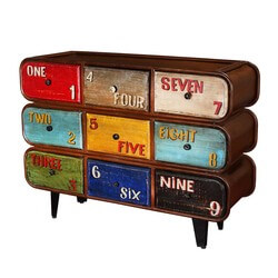 Numeral 9 Drawer Industrial Mango Wood & Iron  Rustic Accent Chest