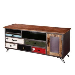 Industrial Pop Art Rustic Mango Wood & Iron Accent Media Console