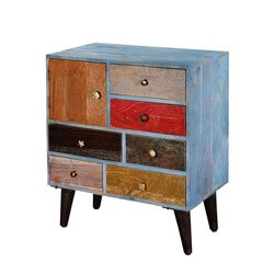 Primary Colors Mango Wood & Iron 6-Drawer Rustic Accent Chest