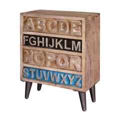 Natural Rustic Wood Alphabet Standing 4-Drawer Accent Chest
