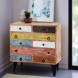 Pastel Colors Mango Wood & Iron Standing 8-Drawer Accent Chest