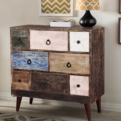 "Rustic Colors Mango Wood & Iron Standing 8-Drawer 35"" Accent Chest"