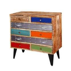 Primary Colors Mango Wood & Iron Standing 8-Drawer Accent Chest