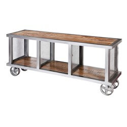 "Roxborough 59"" Rustic Industrial 3-Compartment Media Console Cabinet"