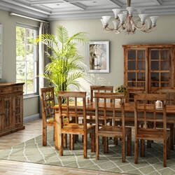 Portland Handcrafted Rustic Solid Wood 11-Piece Dining Room Set