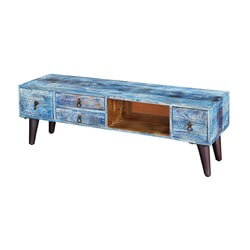 "Turquoise Trail 51"" Rustic 4-Drawer Open Storage Media Console Cabinet"