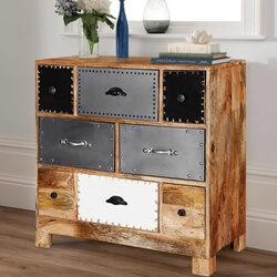 Miami Trendy Industrial 8 Drawers Rustic Mango Wood Accent Dresser