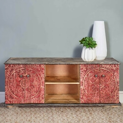 Los Angeles Red Intricately Designed 4 Door Rustic Accent Media Console