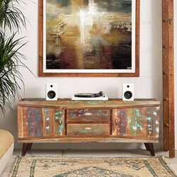 "Modern 59"" Rustic Reclaimed Wood Accent Media Console Cabinet"