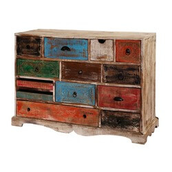 Rustic Rainbow Mango Wood 13-Drawer Accent Dresser Chest