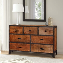 Rustic Industrial Mango Wood & Iron 7-Drawer Accent Chest