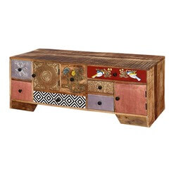 Pretty Patches Rustic Mango Wood 9-Cubby Accent TV Console Cabinet