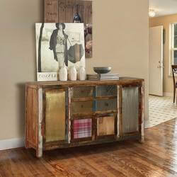 "Frontier Rustic Patches 71"" Reclaimed Wood 4-Drawer Accent Sideboard"