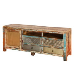 "Rustic Patches Reclaimed Wood 59"" TV Console Accent Media Cabinet"