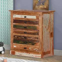 Modern Pioneer Reclaimed Wood 7-Shallow Shelves Accent Chest Dresser
