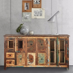 Phoenix Rugged Sleek 7 Drawers and 2 Cabinets Reclaimed Wood Sideboard