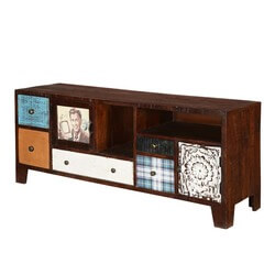 "Pop Art Patches 57"" Mango Wood Accent TV Console Media Cabinet"