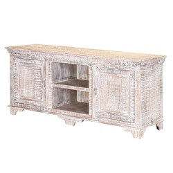 "Winter White Farmhouse Mango Wood 59"" Accent Media Console Cabinet"