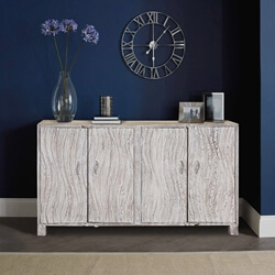 "Winter White Contemporary Mango Wood 60"" Accent Sideboard Cabinet"