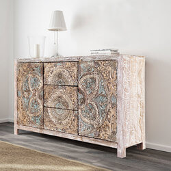 "Many Floral Mandalas 59"" Mango Wood Hand Carved Accent Buffet Cabinet"
