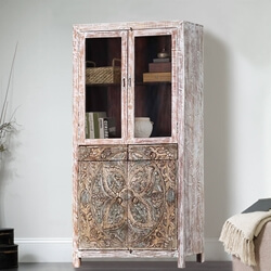 Floral Mandala Mango Wood Hand Carved Accent Storage Cabinet