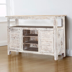 Farmhouse Distressed White Mango Wood Freestanding Accent Sideboard