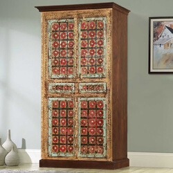 Classic Empire Mango Wood & Brass Divided Wardrobe Cabinet