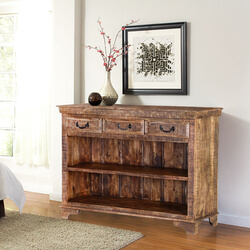 Phoenix Natural Finish Rustic Mango Wood Display Sideboard w 3 Drawers