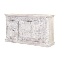 "Willamette 65"" Frosted White Rustic 3-Door Buffet Sideboard Cabinet"