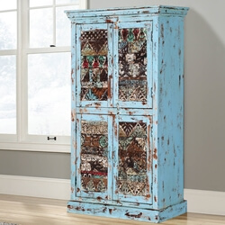 Turquoise Trail 4-Door Rustic Blue Dining Storage Accent Cabinet