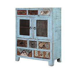 Turquoise Trail 2-Door 8-Drawer Blue Dining Storage Cabinet