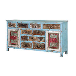 "Turquoise Trail 71"" 2-Door 10-Drawer Blue Buffet Sideboard Cabinet"