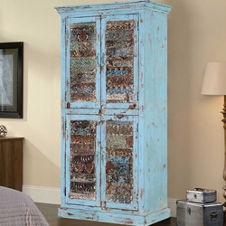 Turquoise Trail Blue Reclaimed Wood 4-door Armoire Storage Cabinet