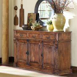 "Willamette 59"" 3-Drawer 3-Door Natural Rustic Buffet Sideboard Cabinet"