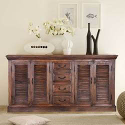 "Willamette 71"" 4-Door Shutter Style 4 Drawer Buffet Sideboard Cabinet"