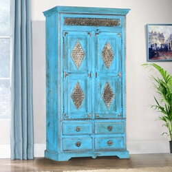 Turquoise Trail 2-Door Metal Diamond Armoire Tower w 4 Drawers