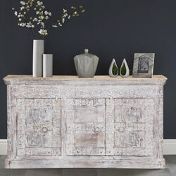 "Chartres 64"" Frosted White 3-Door Solid Wood Buffet Sideboard Cabinet"