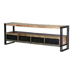 "Roxborough 71"" Rustic Industrial 4-Drawer Storage  Media Console"