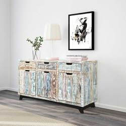 "Tucson 59"" Handcrafted 3-Drawer Reclaimed Wood Buffet Sideboard"