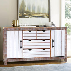 "Modern 69"" Distressed Reclaimed Wood  Free standing Buffet Cabinet"