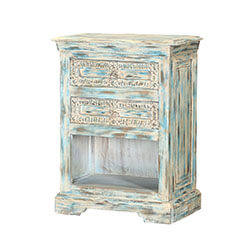 Waterfall Blue Reclaimed Wood Hand Carved Nightstand End Table