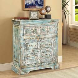 Frosted Blue Reclaimed Wood Hand Carved Mini Cabinet