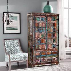 Rustic Color Patches Reclaimed Wood Armoire Storage Cabinet