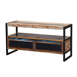 Industrial Rustic Reclaimed Wood & Iron Media Console TV Stand