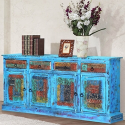 "Appalachian 70"" Distressed Blue Reclaimed Wood Sideboard Cabinet"