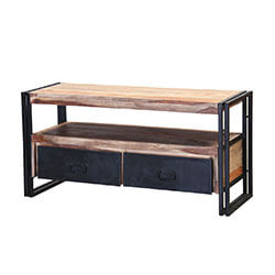 Modern Industrial Indian Rosewood & Iron Open Concept TV media Console