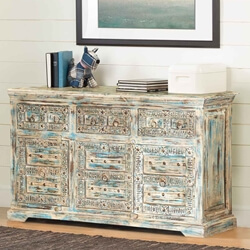 "Winter Morning 55"" Elizabethan Reclaimed Wood Sideboard Buffet Cabinet"