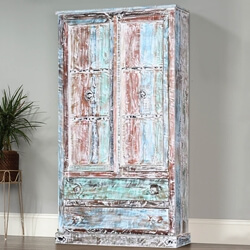 "Summer Sky 74"" Gothic Reclaimed Wood Freestanding Wardrobe"