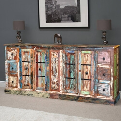"Rustic Rainbow Reclaimed Wood 83"" Sideboard Buffet Cabinet"